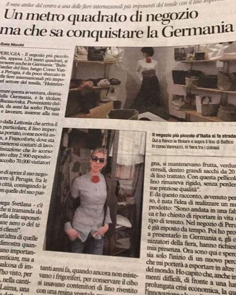 Heimtextil articolo Balticoshop su Corriere dell'Umbria