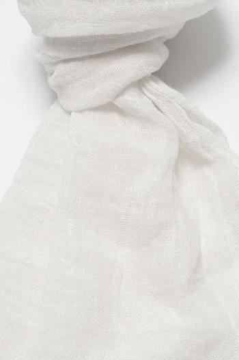 Sciarpa bianca in lino lettone - Dettaglio