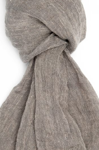 Sciarpa color sabbia in lino lettone - Dettaglio